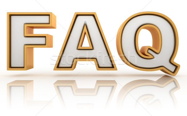 FAQ - frequently asked question abbreviation, golden letter sign Stock photo © djmilic
