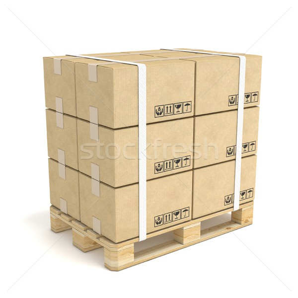Cardboard boxes on wooden pallet. Deliver concept. 3D Stock photo © djmilic