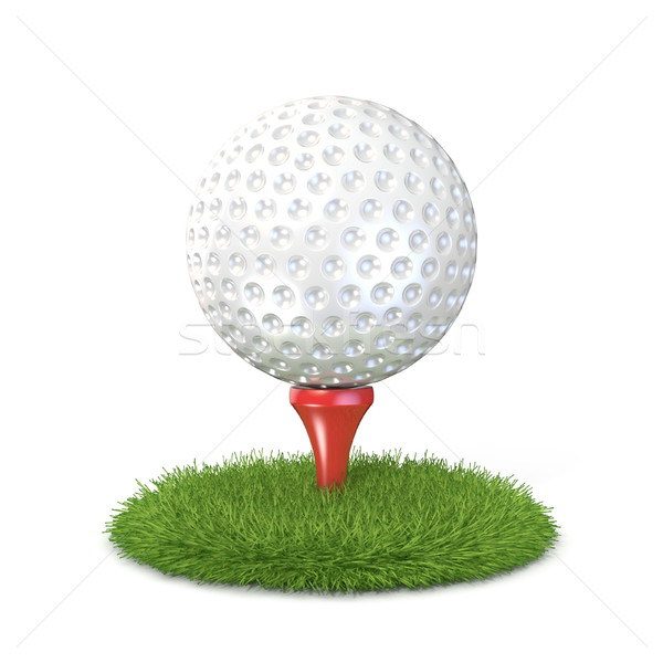 Сток-фото: мяч · для · гольфа · красный · трава · 3D · 3d · визуализации · иллюстрация