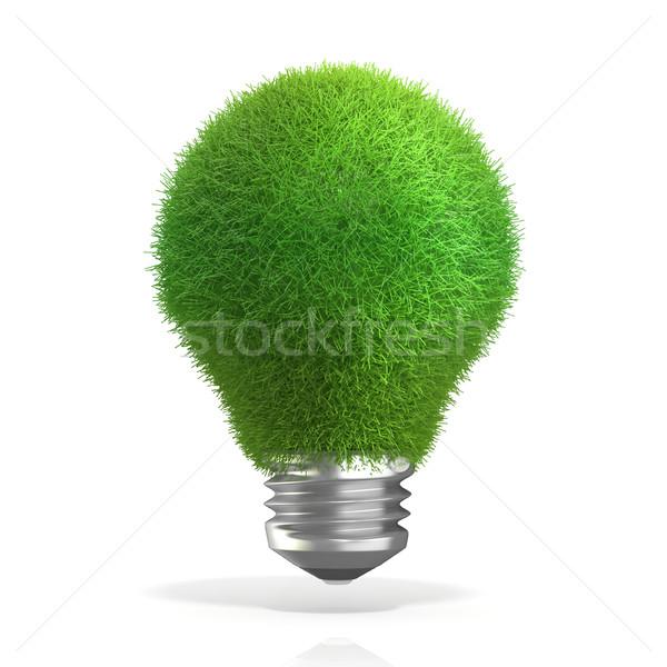ストックフォト: グリーンエネルギー · 草 · 電球 · 3D · 3dのレンダリング · 孤立した