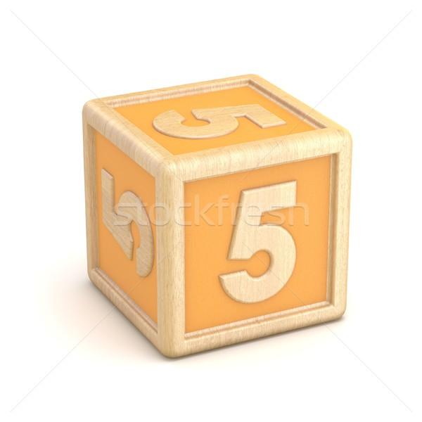Number 5 FIVE wooden alphabet blocks font rotated. 3D Stock photo © djmilic
