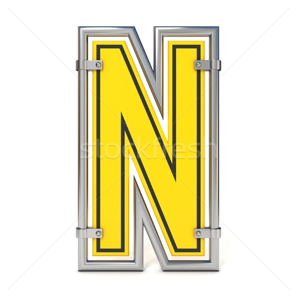 Stock photo: Framed traffic road sign FONT letter N 3D