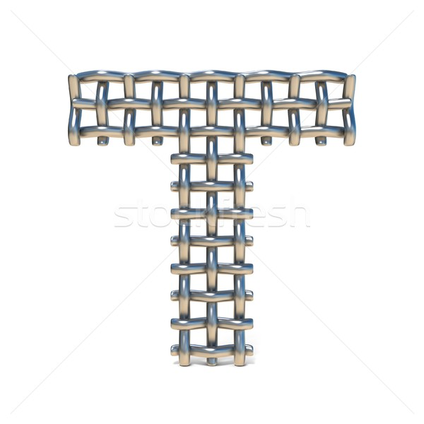 Metal wire mesh font LETTER T 3D Stock photo © djmilic
