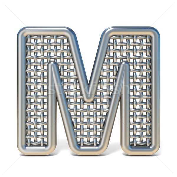Outlined metal wire mesh font LETTER M 3D Stock photo © djmilic