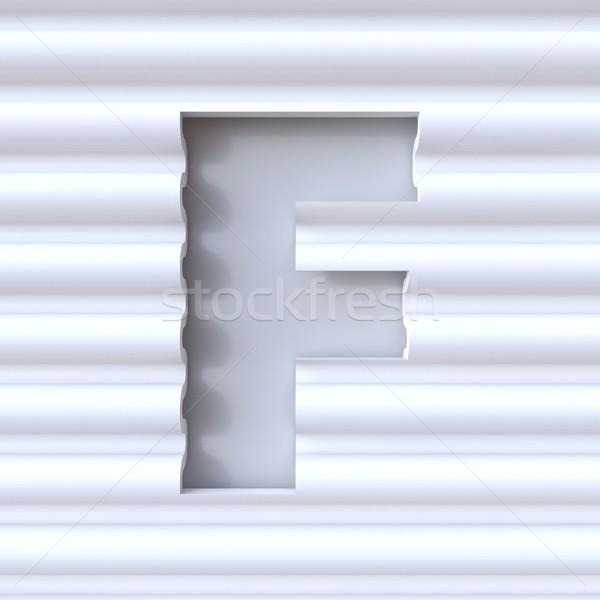Stock photo: Cut out font in wave surface LETTER F 3D