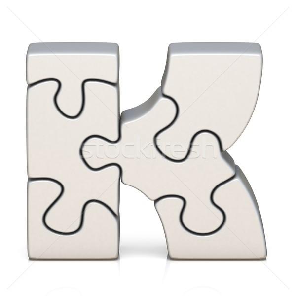 White puzzle jigsaw letter K 3D Stock photo © djmilic