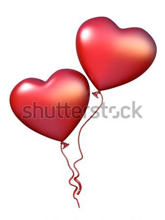 Stok fotoğraf: Iki · kırmızı · kalp · balonlar · 3D