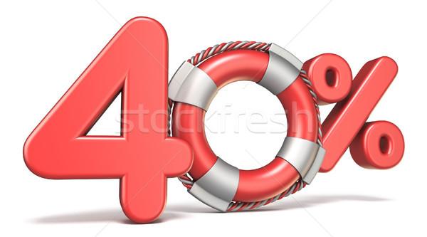 Reddingsboei 40 procent teken 3D 3d render Stockfoto © djmilic