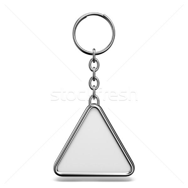 Metal bugiganga anel chave triângulo forma Foto stock © djmilic