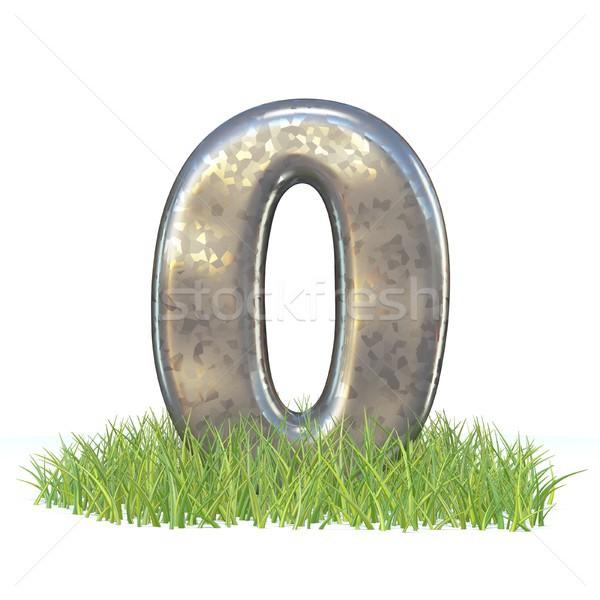 Galvanizált fém betűtípus szám nulla fű Stock fotó © djmilic