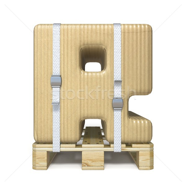 Cardboard box font Letter R on wooden pallet 3D Stock photo © djmilic