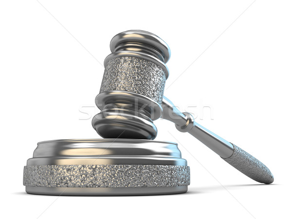 Steel gavel and soundboard on white background. Law concept. 3D Stock photo © djmilic