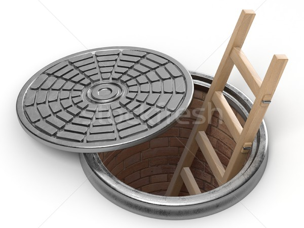 Opened street manhole with wooden ladder inside. 3D Stock photo © djmilic