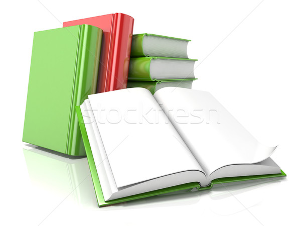 Pile of books with open one. 3D Stock photo © djmilic