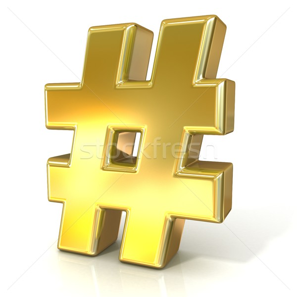 Hashtag, number mark 3D golden sign Stock photo © djmilic