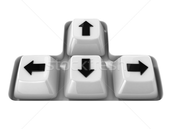 The four white keyboard arrows keys on a white background. Front Stock photo © djmilic