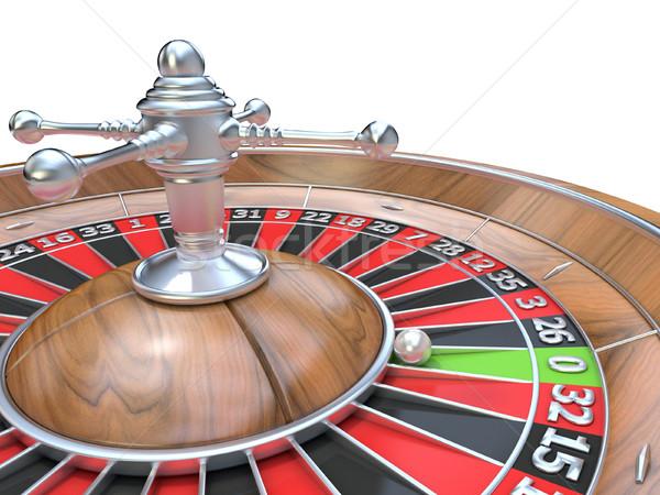 Ruota della roulette 3D dettaglio pari a zero verde tasca Foto d'archivio © djmilic