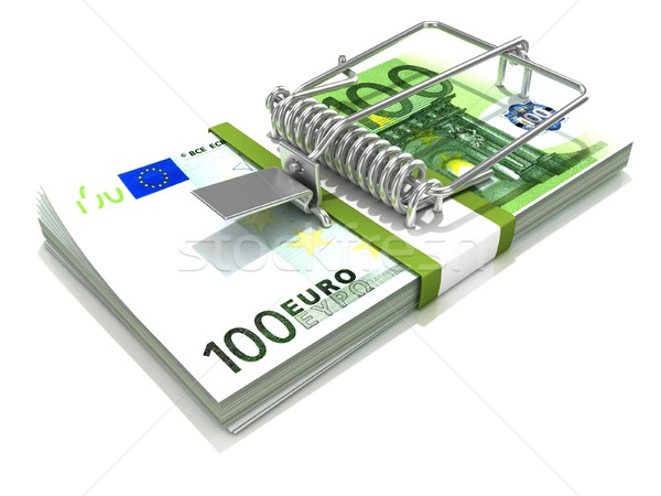 3D render mousetrap installed on euro banknote stack Stock photo © djmilic