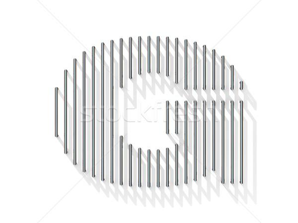 Ezüst acél drót betűtípus g betű függőleges Stock fotó © djmilic