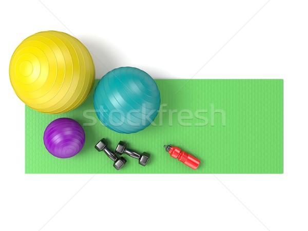 ストックフォト: フィットネス · ボール · ダンベル · プラスチック · 水筒 · 緑