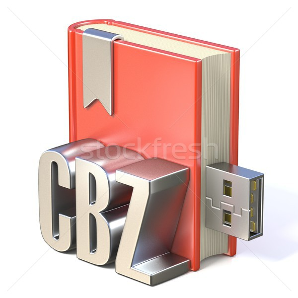 eBook icon metal CBZ red book USB 3D Stock photo © djmilic