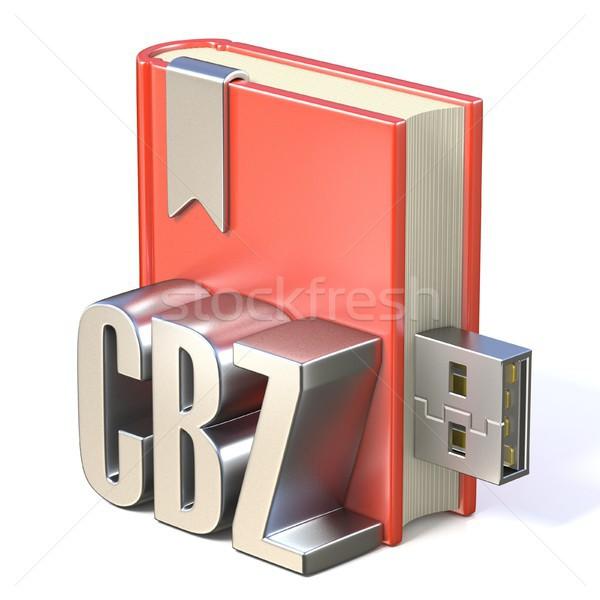 Ebook ícone metal vermelho livro usb Foto stock © djmilic