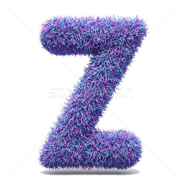 Purple faux fur LETTER Z 3D illustration Stock photo © djmilic