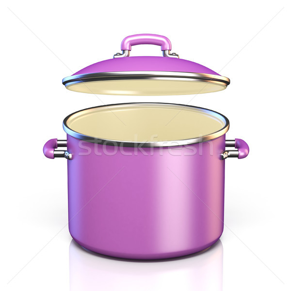 Purple cooking pot open lid 3D render illustration Stock photo © djmilic