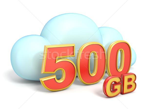Felhő ikon 500 raktár kapacitás 3D renderelt kép Stock fotó © djmilic