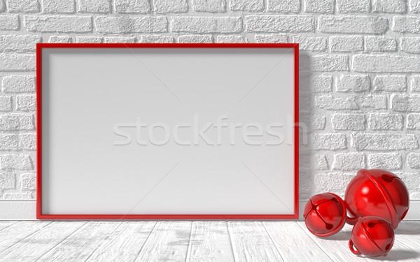 Czerwony płótnie ramki christmas sanie Zdjęcia stock © djmilic