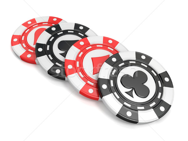 Casino chips with spade, heart diamond and club on it. 3D Stock photo © djmilic