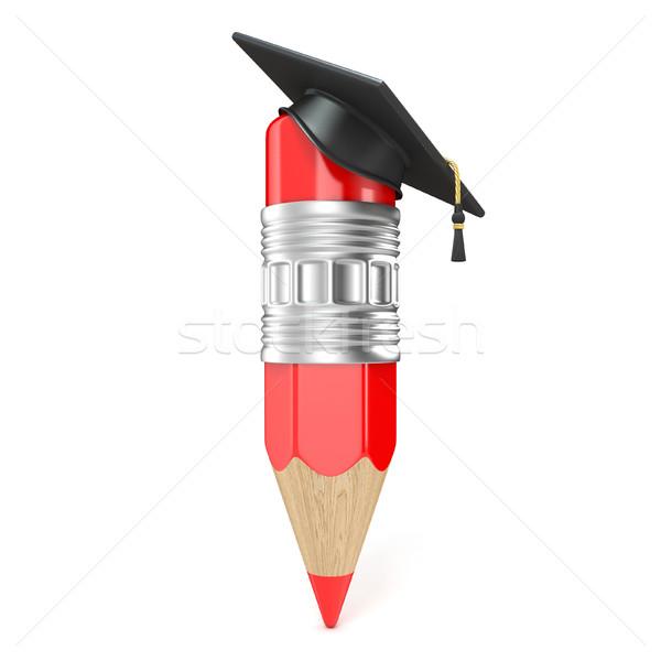Сток-фото: красный · карандашом · окончания · Cap · образование · 3D