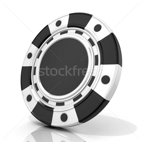 ストックフォト: 黒 · ギャンブル · チップ · 3D · 3dのレンダリング · 孤立した