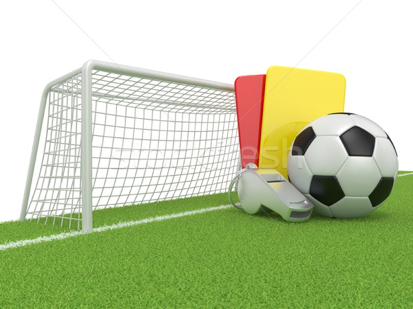 Stock photo: Football concept. Penalty (red and yellow) card, metal whistle a