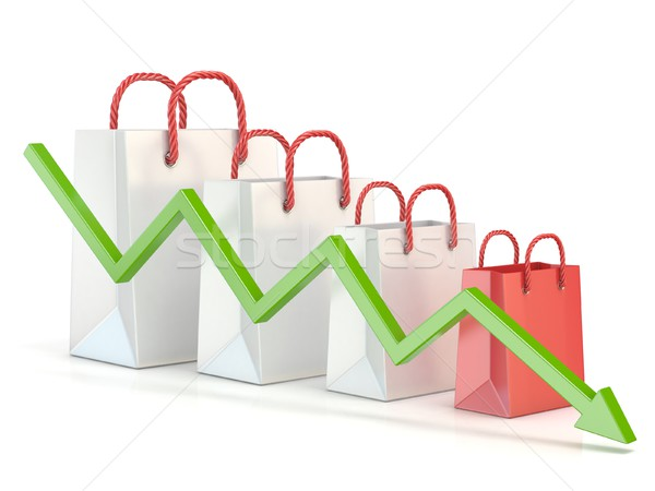 Shopping bag decreasing chart. Sales reduction chart. 3D Stock photo © djmilic
