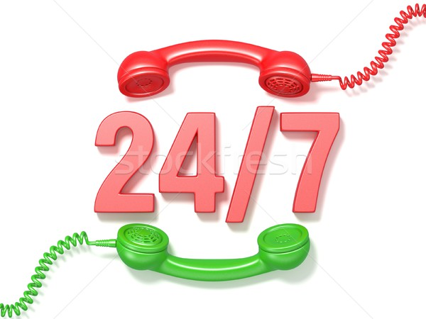 24 hours 7 days a week sign. Retro red and green phone receivers Stock photo © djmilic