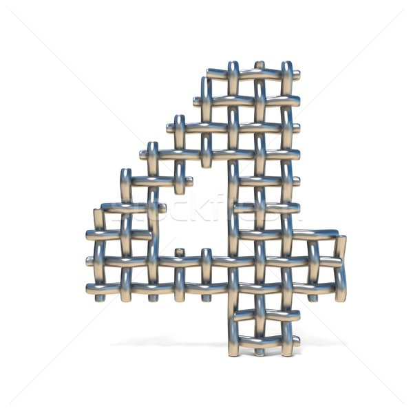 Metal wire mesh font Number 4 FOUR 3D Stock photo © djmilic