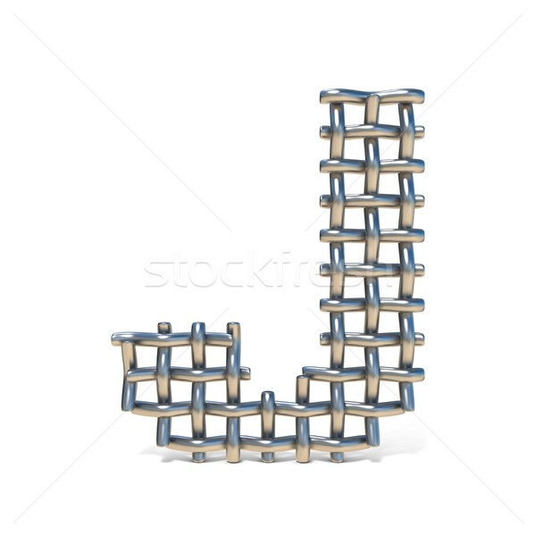 Metal wire mesh font LETTER J 3D Stock photo © djmilic