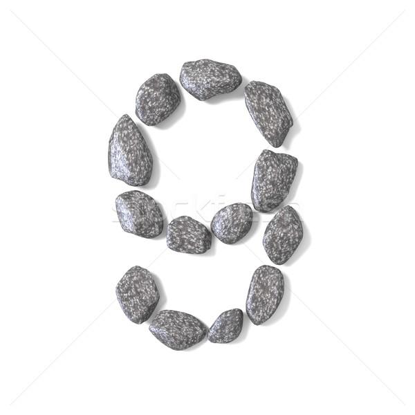 Fuente rocas número nueve 3D 3d Foto stock © djmilic