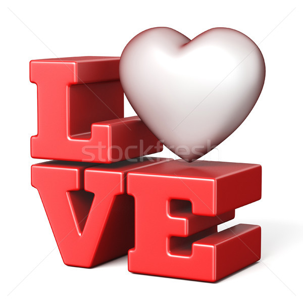 Word LOVE with red heart 3D Stock photo © djmilic