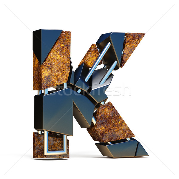 Black brown fracture font LETTER K 3D Stock photo © djmilic