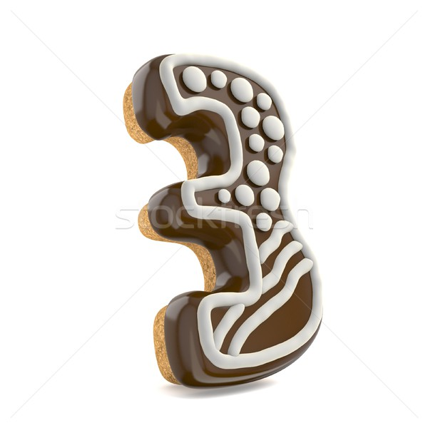 Number THREE 3 chocolate Christmas gingerbread font decorated wi Stock photo © djmilic