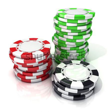 Stacks of red, green, black gambling chips and black dices isola Stock photo © djmilic