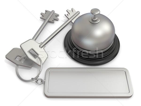 Otel anahtar dikdörtgen biçiminde etiket halka resepsiyon Stok fotoğraf © djmilic
