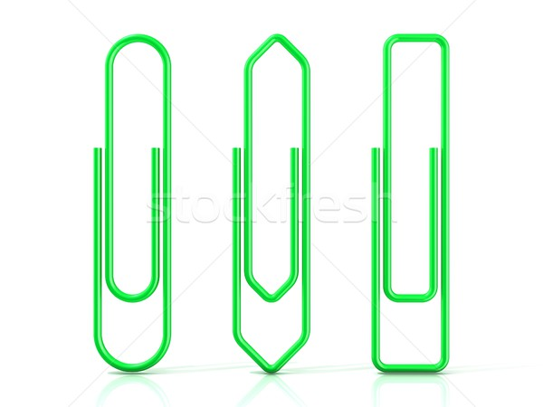 Paper clips isolated over white background, Three basic shapes.  Stock photo © djmilic