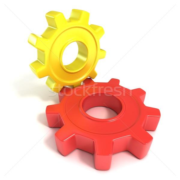Two gear wheels, 3D Stock photo © djmilic