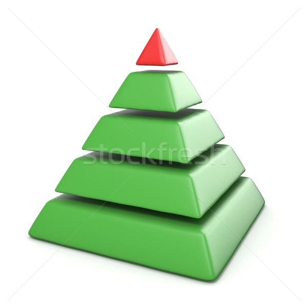 Pyramid with five levels.Top red pyramid. 3D Stock photo © djmilic