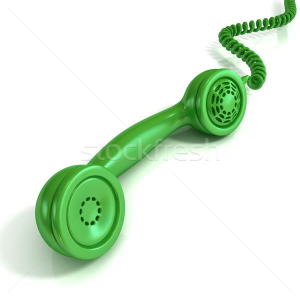 Zöld telefon telefonkagyló retro illusztráció terv Stock fotó © djmilic