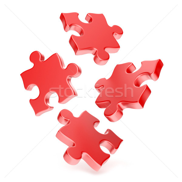 Red puzzles falling to the ground 3D Stock photo © djmilic