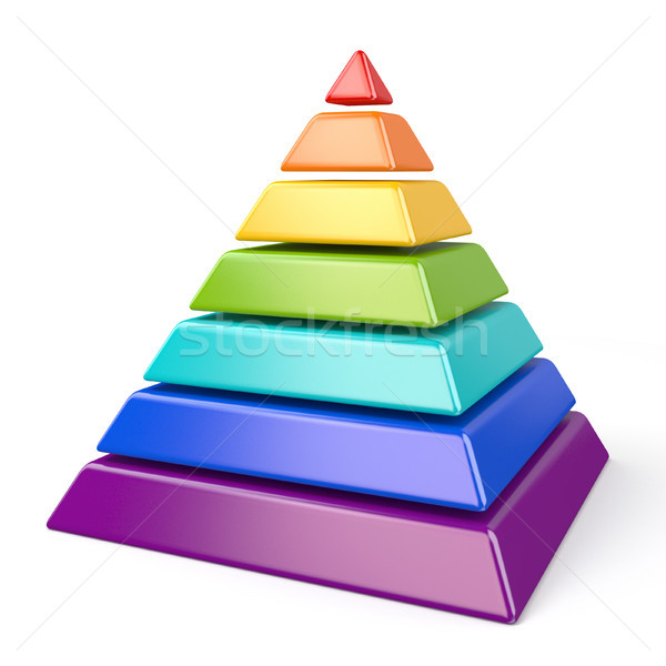 Coloré pyramide sept 3D rendu 3d illustration Photo stock © djmilic